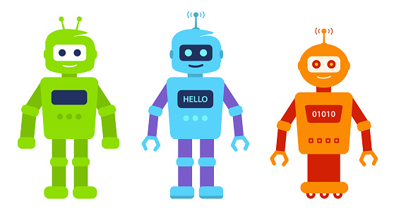 Set Cute cartoon robots for games. electronic Robot boy toy, character.
