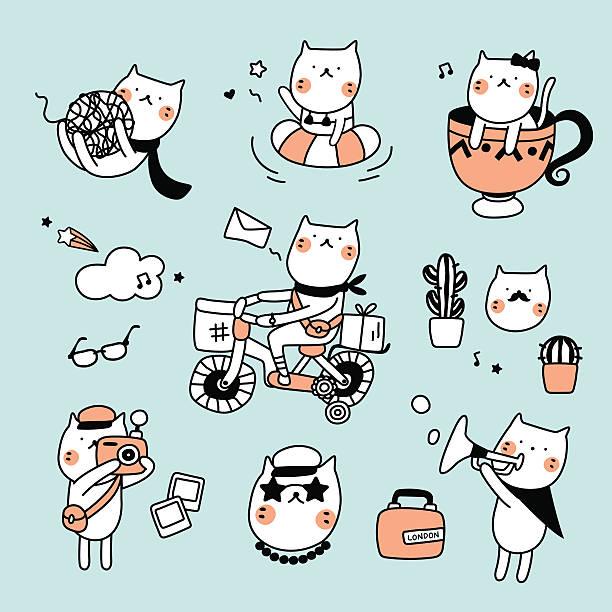 ilustrações, clipart, desenhos animados e ícones de gato bonito hipster conjunto - viagem de primeira classe