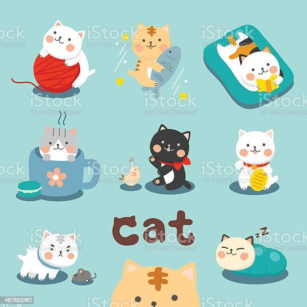 Set cute cat vector id497833362?b=1&k=6&m=497833362&s=612x612&h=cu6o16y cx2o6n kbm 3xqdw47okwvw4xna5agxm8fu=
