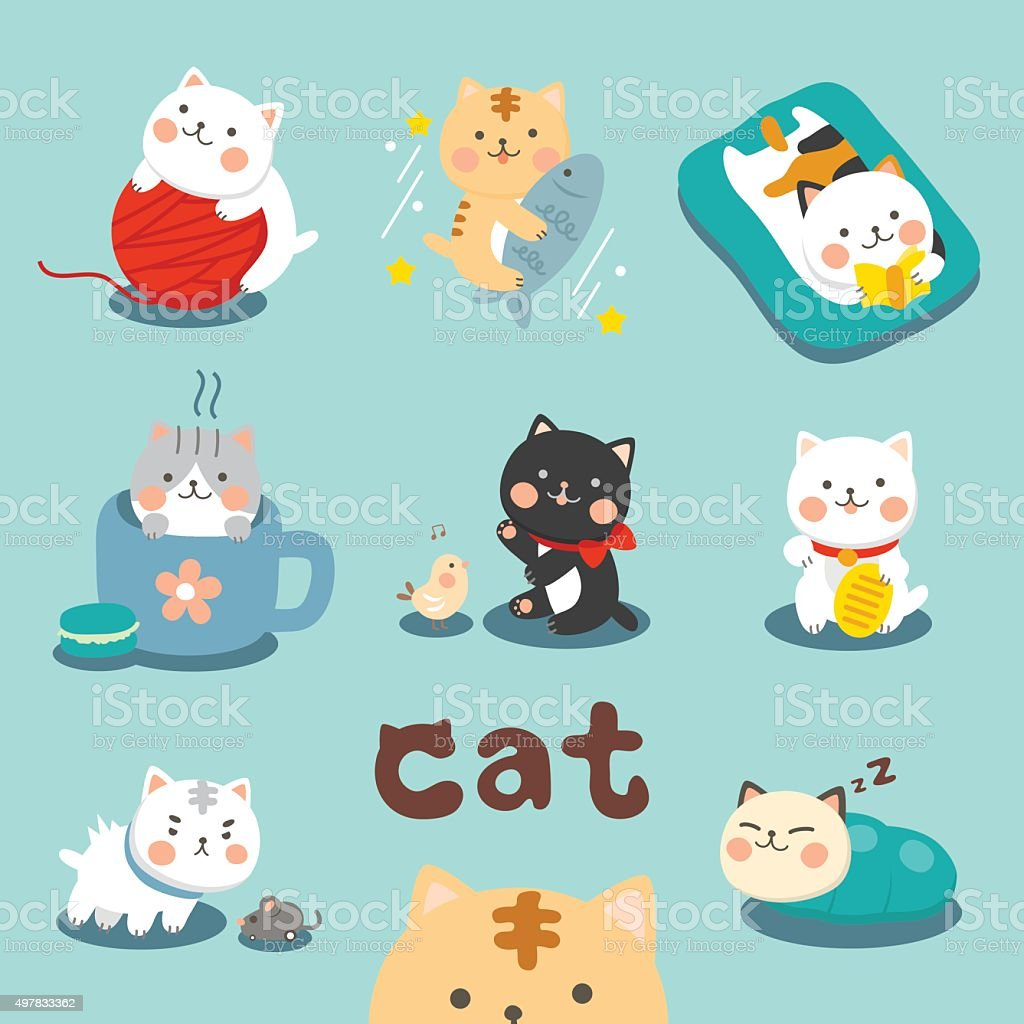 Set Cute Cat vector art illustration