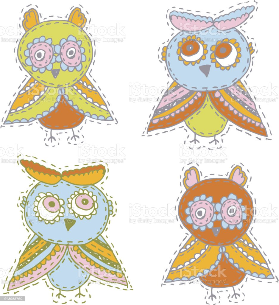 13912fab1 Set Cute characters Cartoon owls and owlets birds sketch doodle beige  orange blue green red isolated on white background. Vector - Illustration .