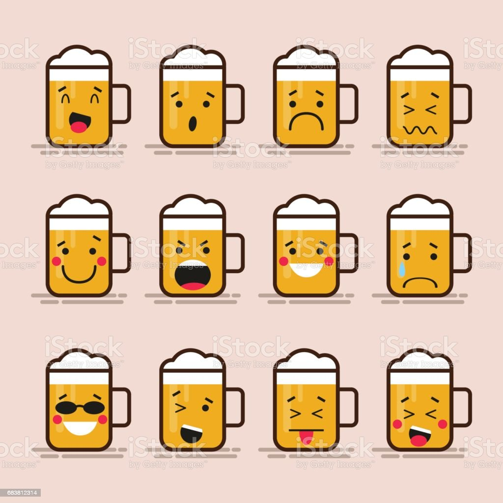 Set cute flat design glass of beer character with different facial expressions, emotions. Collection of emoji isolated on color background. vector art illustration