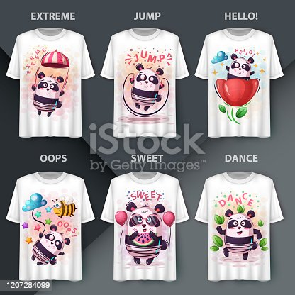 Set cute panda - cartoon characters