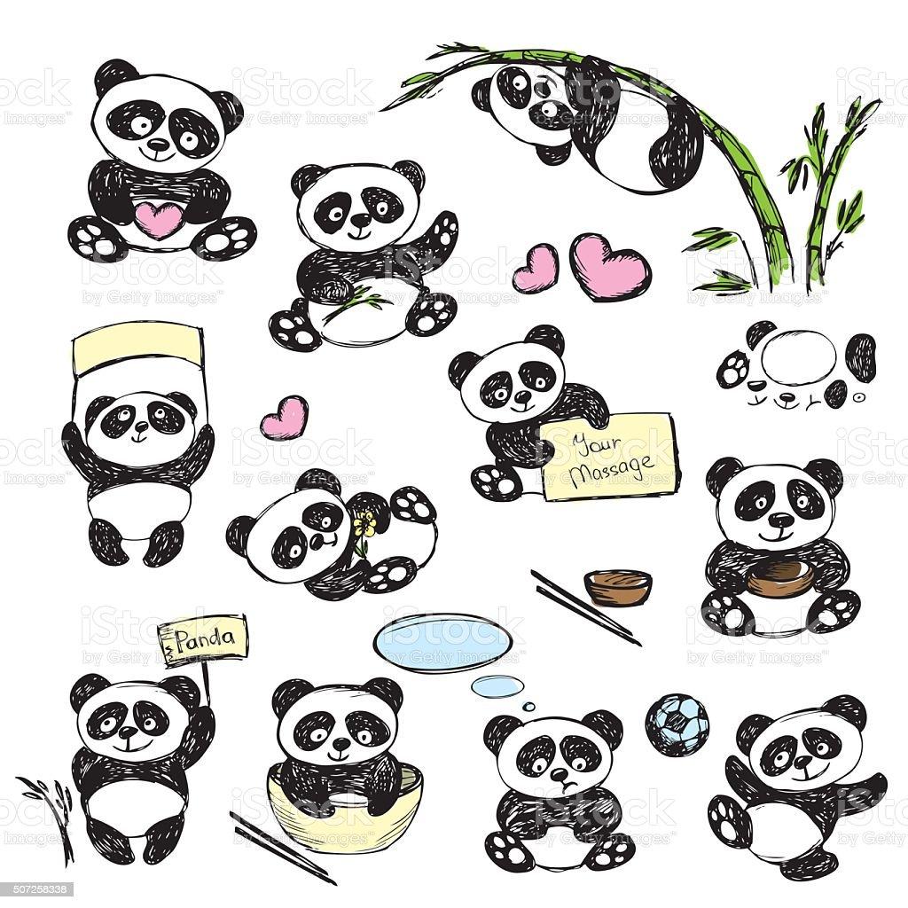Favoritos Conjunto De Panda Bonito Em Várias Posições Desenho à Mão - Arte  MY86