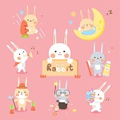 many action cute rabbit