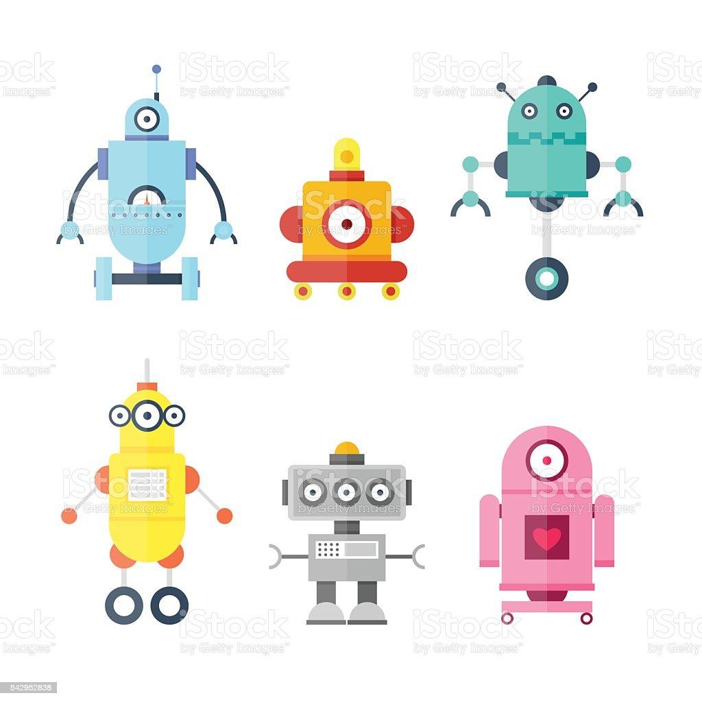 Set Cute Robots. Future robots. Flat design vector illustration.