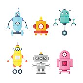 Set Cute Robots. Future robots. Flat design vector illustration.