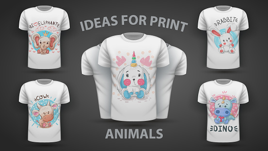 Set cute teddy animals - idea for print t-shirt
