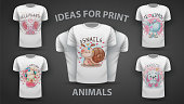 Set cute teddy animals - idea for print t-shirt. Hand draw