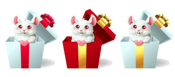Bекторная иллюстрация Set cute white and pink mouse in box