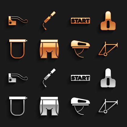 Set Cycling shorts, Bicycle seat, frame, helmet, lock, Ribbon finishing line, brake and air pump icon. Vector