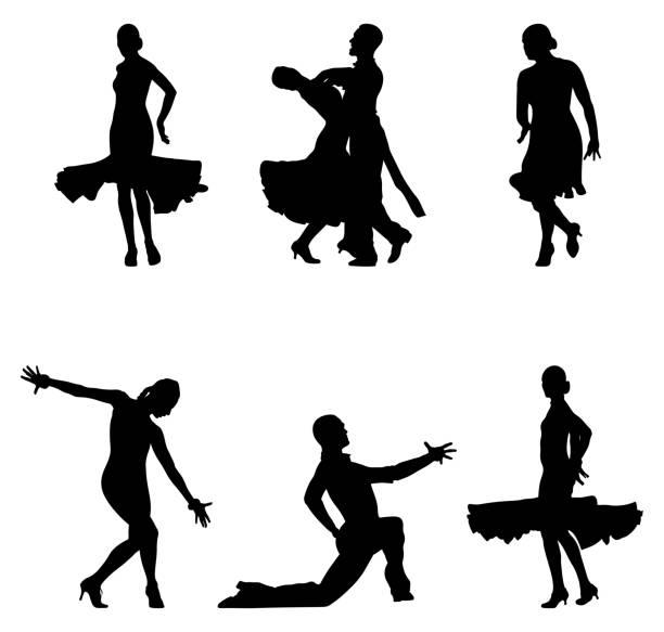 legen sie tänzer schwarze silhouetten - ballsäle stock-grafiken, -clipart, -cartoons und -symbole