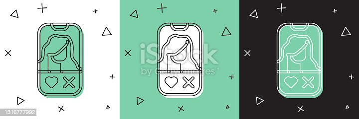 istock Set Dating app online mobile concept icon isolated on white and green, black background. Female male profile flat design. Couple match for relationship. Vector 1316777992