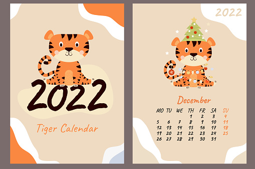 Set - December 2022 calendar and cover. Cute tiger cub with a Christmas tree, toys and garlands. Year of the Tiger in Chinese or oriental. Vertical A4 template. Week starts on Monday