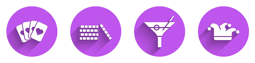 Set Deck of playing cards, Casino chips, Martini glass and Joker playing card icon with long shadow. Vector