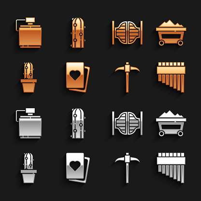 Set Deck of playing cards, Coal mine trolley, Pan flute, Pickaxe, Cactus peyote pot, Saloon door, Canteen water bottle and icon. Vector
