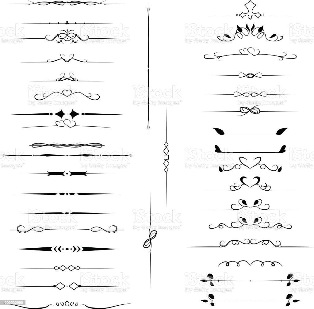 Set decorative design elements, calligraphic flourishes page decor vector art illustration