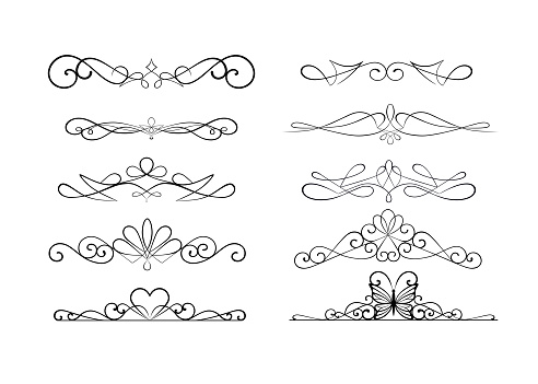set decorative ornamental dividers vector