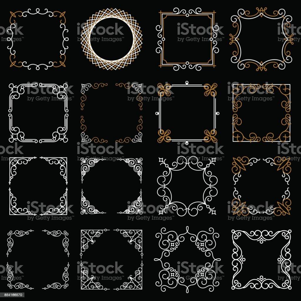 Ilustración de Sets Cuadros Vintage Decorativos En Estilo De Línea ...