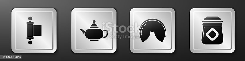 Set Decree, paper, parchment, scroll, Chinese tea ceremony, Chinese fortune cookie and Jar of honey icon. Silver square button. Vector