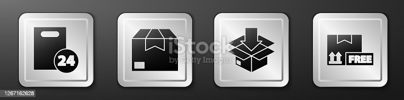 istock Set Delivery with cardboard boxes, Carton cardboard box, Cardboard box with traffic symbol and Cardboard box with free symbol icon. Silver square button. Vector 1267162628