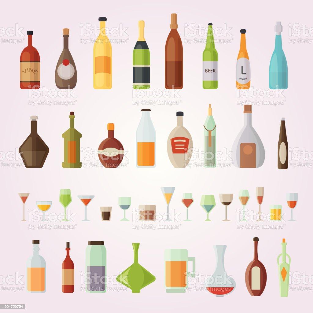 Set design alcohol bottles vector illustration vector art illustration
