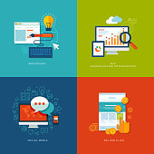 Icons for web design, seo, social media and pay per click internet advertising. Set of flat design concept icons for web and mobile phone services and apps.
