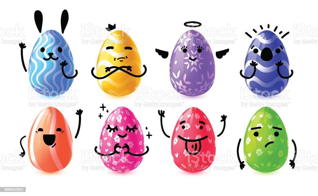 Set design emotional eggs for Happy Easter. Collection happy, rabbit, cute  character Easter Egg for banner, card, invitation egg hunt. Vector. vector art illustration