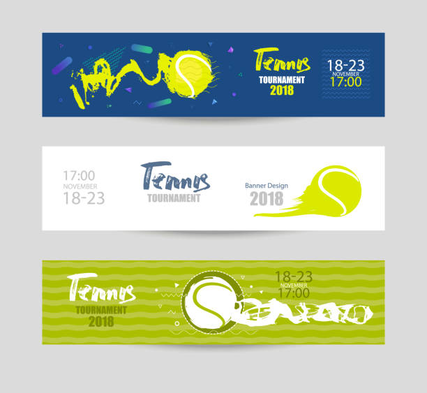 Set designs for tennis. Modern abstract background, hand drawing, textures, geometry. Collection of sports banners, abstract ball. vector art illustration