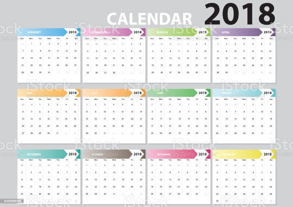 Typography Calendar 2018 : Set desk calendar design of months flat