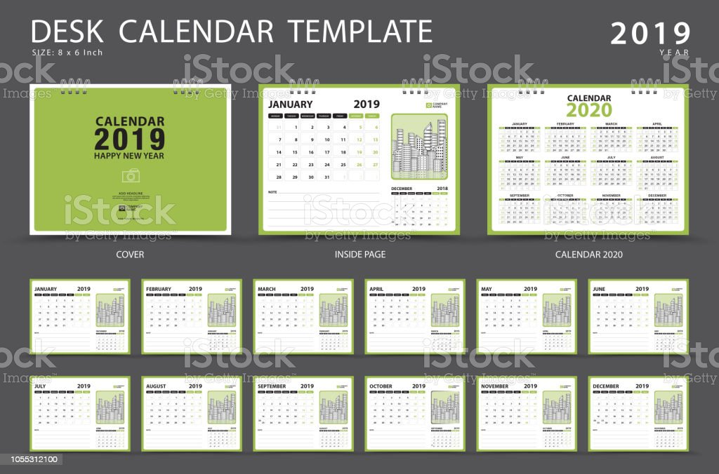 Set Desk Calendar 2019 Template Set Of 12 Months Planner Week Starts