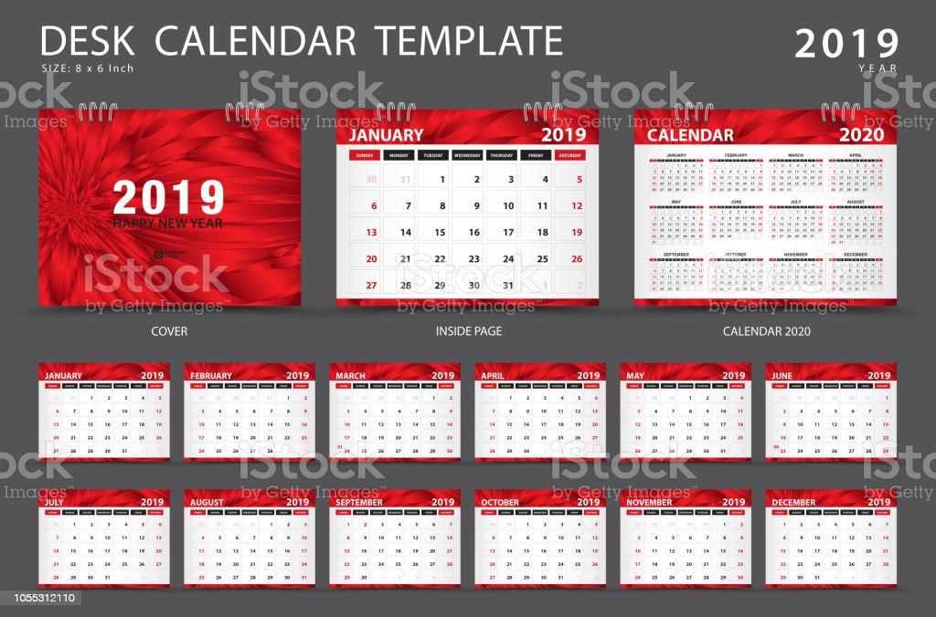 Set Desk Calendar 2019 Template Set Of 12 Months Planner Week Starts