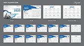 Set Desk Calendar 2020 template design vector, Calendar 2020, 2021, 2022,  cover design, Set of 12 Months, Week starts Sunday, Stationery design, flyer, printing layout, publication, advertisement