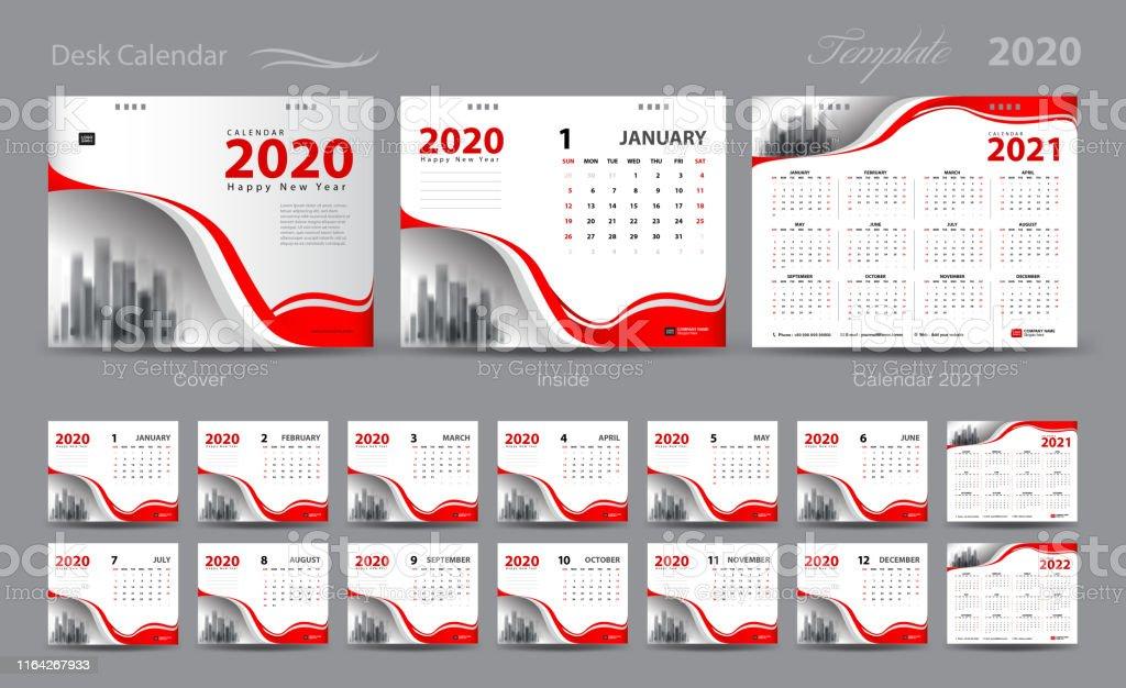 Set Desk Calendar 2020 Template Vector Calendar 20212022 Cover