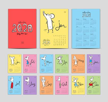 Set Desk Calendar 2020 with rat cartoon character vector, cover design, Lettering calendar, calendar 2021 template, hand-drawn mouse animal, Set of 12 Months, Week starts Sunday, Stationery, pastel background