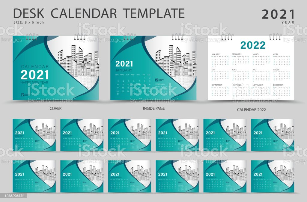 Set Desk Calendar 2021 Template Creative Design Calendar 2022 Layout Set Of 12 Months Planner Week Starts On Sunday Stationery Design Advertisement Modern Red Cover Design Business Brochure Flyer Vector Eps10 Stock