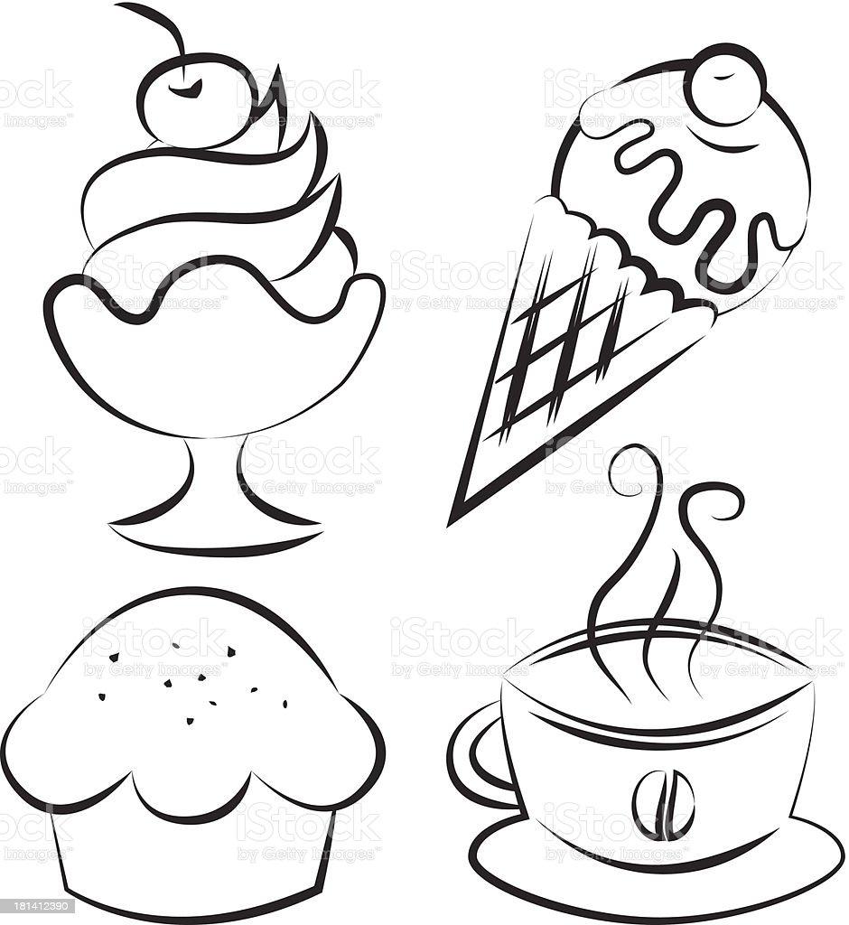 Set Desserts Und Kaffee Vektorillustration Stock Vektor Art Und Mehr