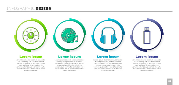Set Dial knob level technology settings, Vinyl disk, Headphones and USB flash drive. Business infographic template. Vector