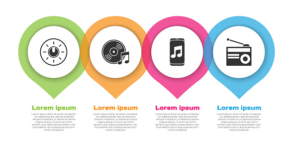 Set Dial knob level technology settings, Vinyl disk, Music player and Radio with antenna. Business infographic template. Vector