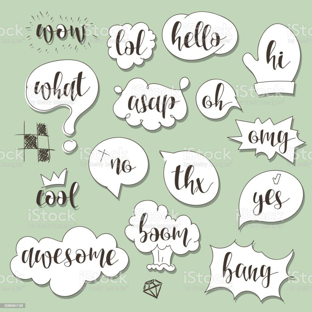 Conjunto De Bolhas De Diálogo Com Caligráfico Frases No Estilo De