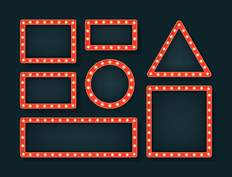 Set diferent shape retro bulb frame. Lightbox billboard with empty transparent background. Banner space for advertisement, promotion and text. Vector illustration