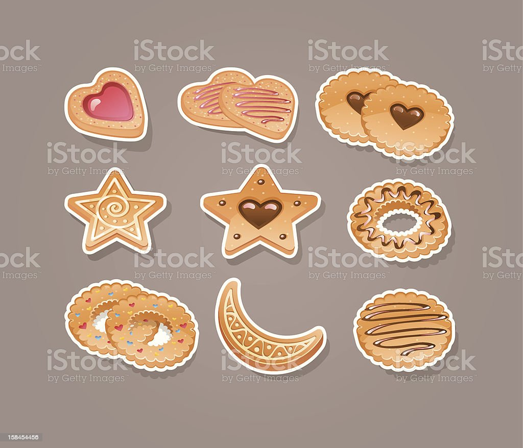 Set different cookies royalty-free stock vector art