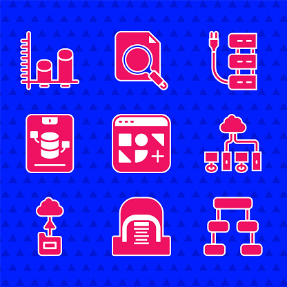 Set Different files, Hangar with servers, Hierarchy organogram chart, Computer network, Cloud technology data transfer, Server, Data, Web Hosting, and analysis icon. Vector
