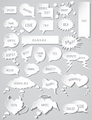 Set of different flat white Speech bubbles for talk and quotes on a gray background
