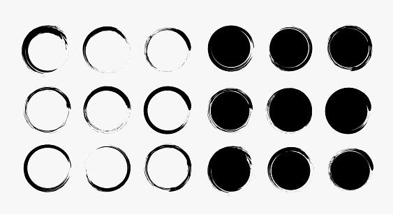 Set different grunge circle brush strokes, design elements. Black Round Frames, hand drawn elements.