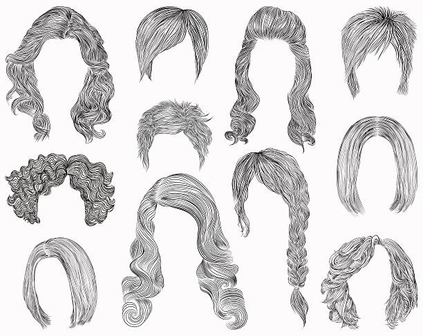 set different hairs  hairstyle .fringe  cascade kare. pencil drawing sketch . - hairstyle stock illustrations, clip art, cartoons, & icons