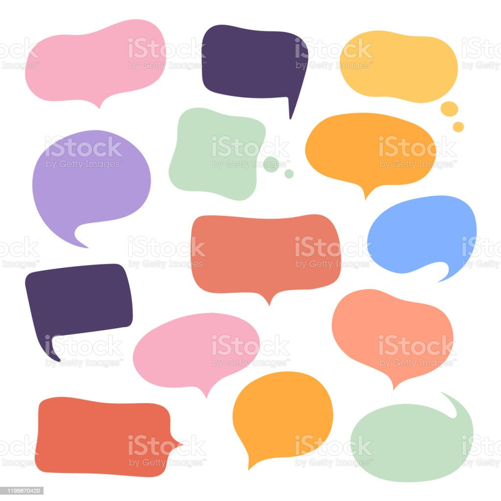 Set different hand-drawn speech bubble. Talk chat speak message. Empty blank comment. Vector illustration design - Grafika wektorowa royalty-free (Balon)