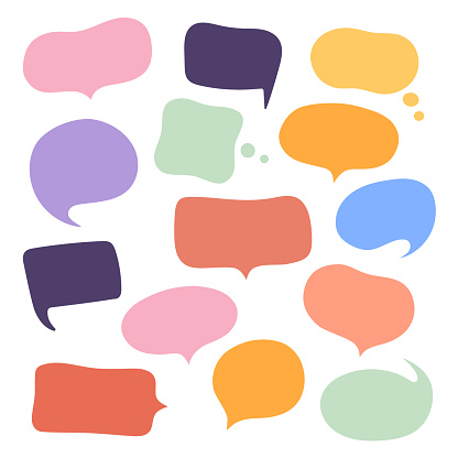 Set different hand-drawn speech bubble. Talk chat speak message. Empty blank comment. Vector illustration design