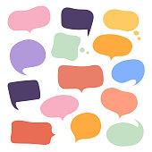Set different hand-drawn speech bubble. Talk chat speak message. Empty blank comment. Vector illustration design.