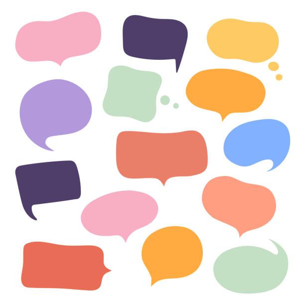 Set different hand-drawn speech bubble. Talk chat speak message. Empty blank comment. Vector illustration design Set different hand-drawn speech bubble. Talk chat speak message. Empty blank comment. Vector illustration design. speech bubble stock illustrations